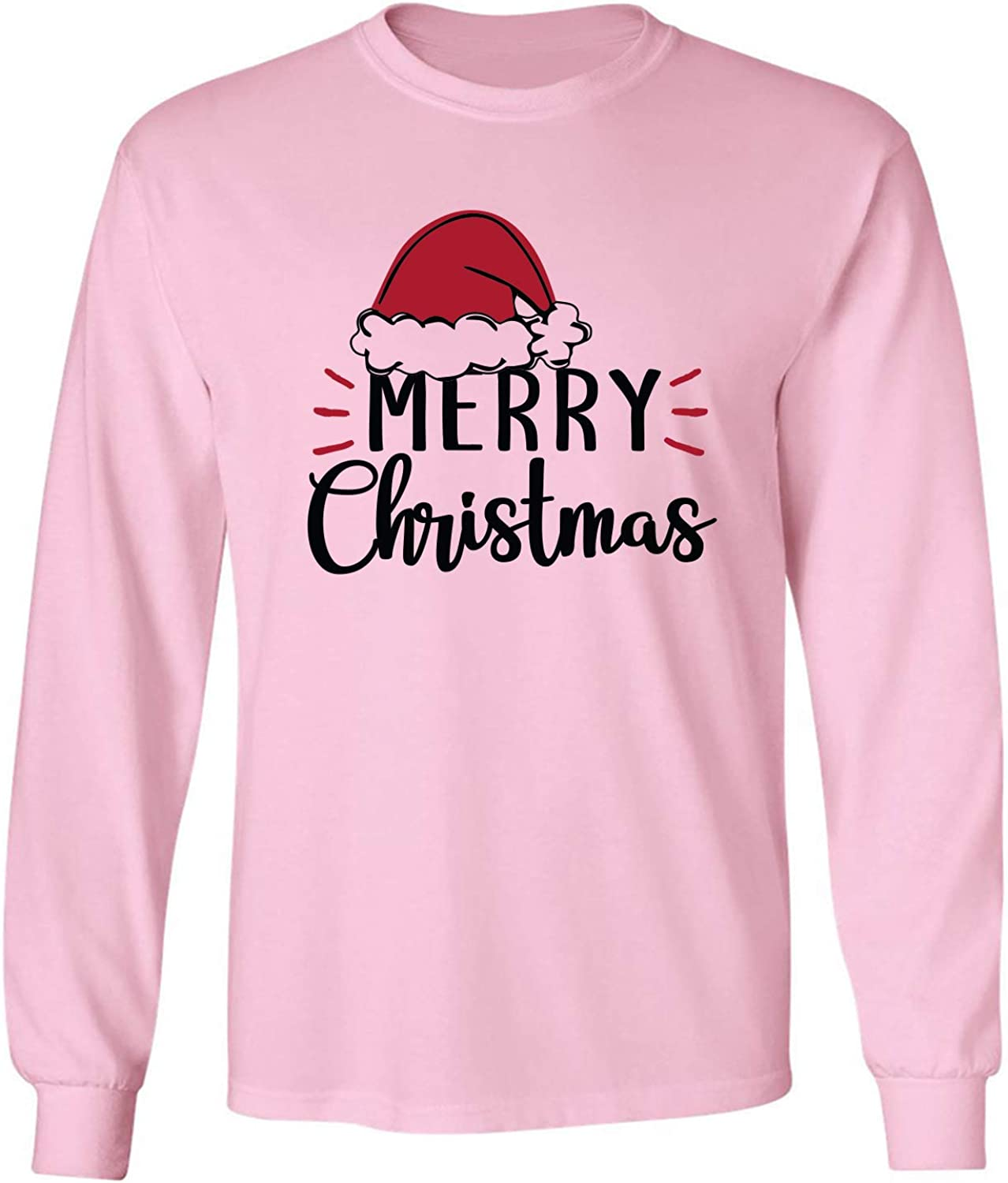 Merry Christmas Hat Adult Long Sleeve T-Shirt in Pink - XXXX-Large