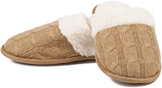Camel Tan Cable Knit Sherpa-Lined Women's House Slippers