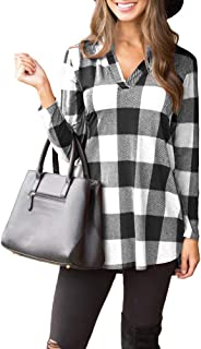 Women Casual Long Sleeve Plaid Tunic Shirt V Neck Pullover Blouse Tops