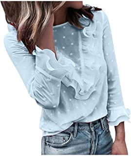 Womens O-neck T-shirt Tops, Ladies Solid Ruffle Long Sleeve Pullover Lace Blouse Tunic Tops