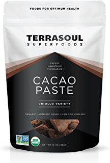 Terrasoul Superfoods Raw Organic Cacao Paste/Liquor, 1 Pound
