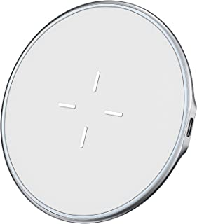 VANMASS Wireless Charger, Zinc Alloy, Rapid Cooling, Fast Wireless Charging Pad, 10W Qi Wireless Charger Compatible with Xs Max/Xs/Xr/X/8/8 Plus, Galaxy S7/S8/S9/S10, 5W for Qi-Enabled Phones (White)