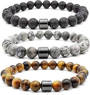 Ricjurzzty 3 PCS Tiger Eye Stone Bracelets 8MM Natural Stones Beads Bracelets for Men Women Girls Jewelry