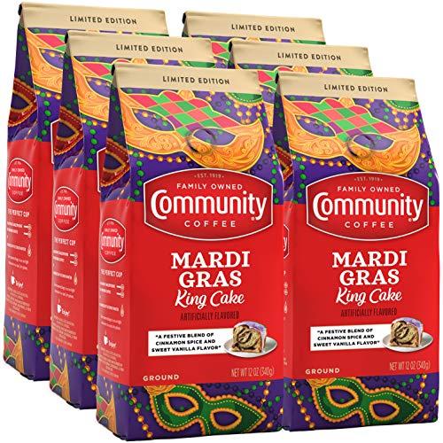 Community Coffee Mardi Gras King Cake Flavored Medium Roast Ground Coffee, 12 Ounce Bag (Pack Of 6)