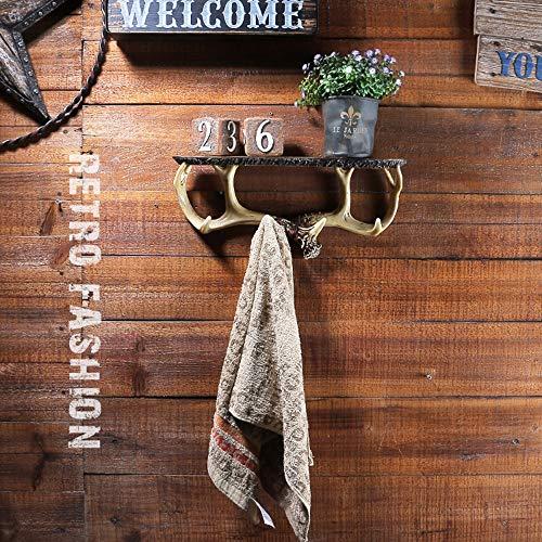 DAMAI STORE Astas Estadounidenses Gancho Artesanía Creativa Baños Casa Estante De La Toalla De Baño Estante De La Pared Cuelgan Adornos Antiguos (35.3 * 7 * 16.2cm)