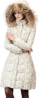Clothing/Outerwear/Coats Jacket Ladies Long Jacket Winter New 90% White Duck Down Vintage Print Waist Down Jacket Big Fur Collar Hat Jacket (Color : White, Size : L)