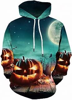Mens Tops Halloween Pumpkin 3D Print Hooded Party Long Sleeve Hoodie Blouse