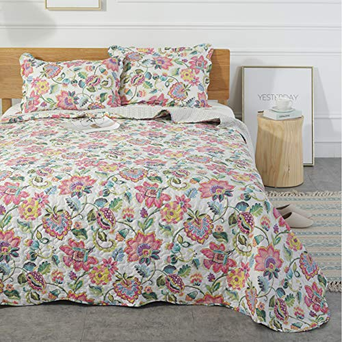 Mohap Floral Quilt Set 3 Piece Queen Size Soft and Breathable for All Season Bedspread 1 Quilt and 2 Matching Shams Vintage Style