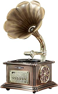 Retro Bluetooth Speaker 40W, Vintage Turntable Gramophone Shaped Speakers with Aux-In, USB Port for Flash Drive, Phonograp...