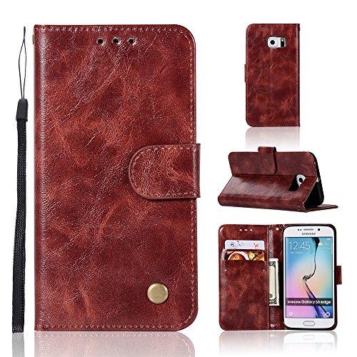 kelman Cover per Samsung Galaxy S6 Edge/SM-G925 Custodia PU in Pelle + Silicone TPU Flip Portafoglio Custodia per Cellulare - (JX01 / Vino Rosso)