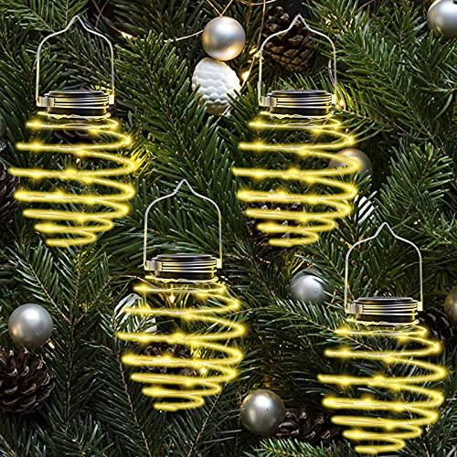 LED Solar laterne für Außen, 4 Stück 80 LED Solar Spiral Lights Metall Solarlampe Hängend IP65 Wasserdicht Solarlaterne für Garten, Terrasse,Veranda, Rasen, Hof, Gehweg
