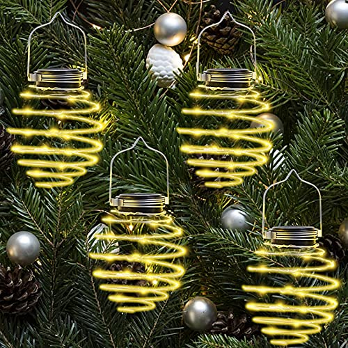 Farol Solar Exterior, 4pcs 80LED Lámpara Solar Colgante en Espiral, IP65 Impermeable Luz Solar Jardín para Camping Patio Terraza Camino Interiore/Exteriore Césped Patio Festival Navidad