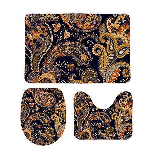 CHEHONG - Juego de alfombrillas de baño con diseño de cachemira colorido, incluye tapetes de contorno en forma de U, antideslizante, extra suave, de forro polar de coral, espuma viscoelástica de 3 piezas, Terciopelo coral, Color1, talla única