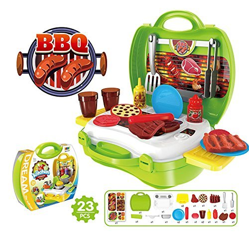 Kids Role Play-sets Pretend Play Food Toys, OWIKAR 23Pcs Travel BBQ Pretend Play Sets Early Educational Develop Practice Skills Cooking Tool Portable Travel Suitcase