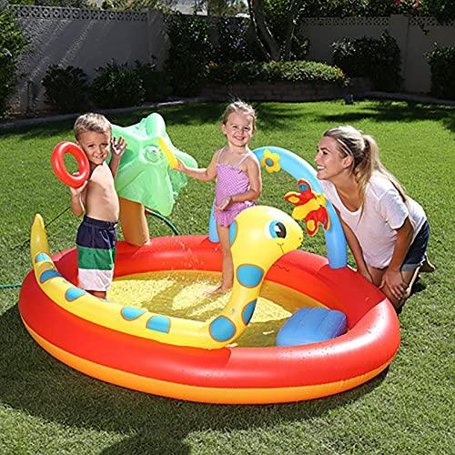 LGLE Piscina Piscina Inflable para Niños Castillo Inflable De Ocio Al Aire Libre Fuente Multifuncional Piscina De Entretenimiento para Niños,192×150×88cm,