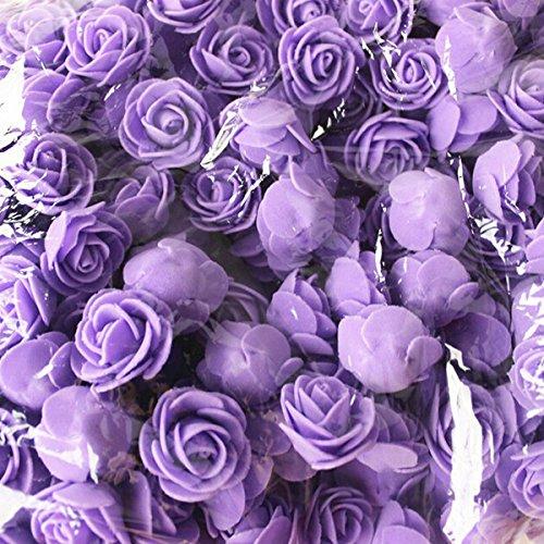 Tutoy 50pcs 2.5 cm Artificiel Roses PE Mousse Rose Fleur Mariage décoration fête de la Saint-Valentin Fausses Fleurs - Bleu Clair