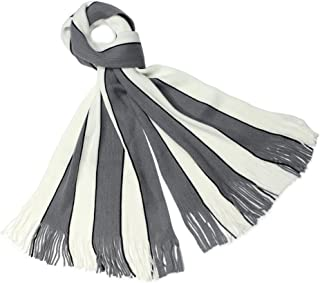 Dahlia Men's Soft, Warm and Long Winter Scarf, Striped Knit