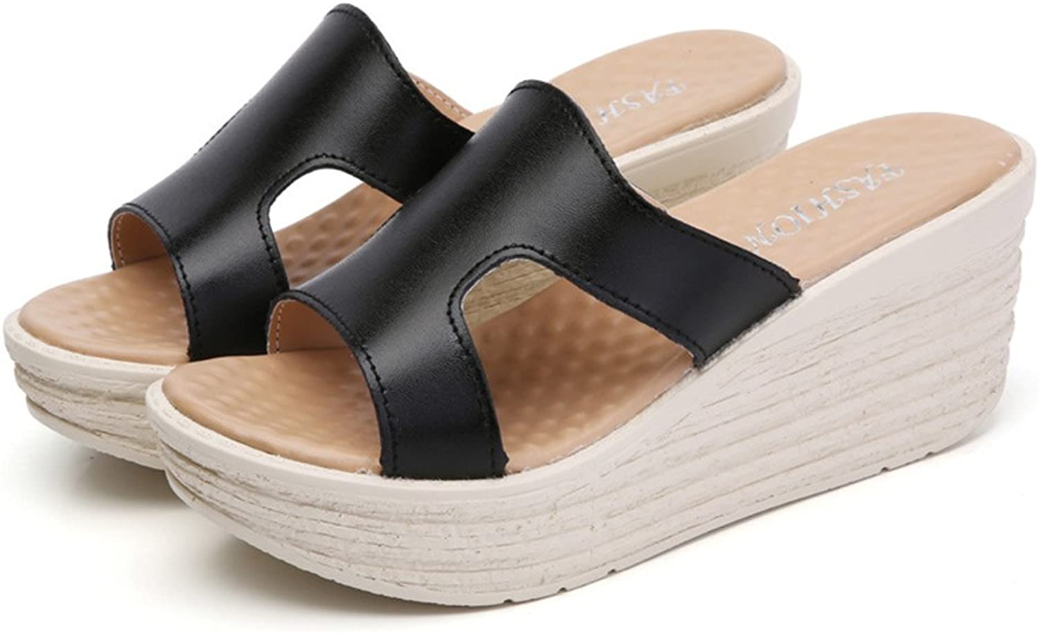 Mubeuo Women's Casual Leather Fashion Wedge Sandals