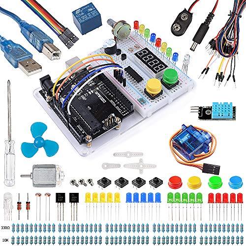 Smraza Progetto Starter Kit con Breadboard Holder, DC Motore per Principianti con Manuale Compatibile per Arduino Mega2560 Mega328 Nano