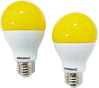 Greenic 9Watt A60 E27 LED Amarillo Amber Bug Light Bulb, 60Watt Incandescent Bulbs Equivalente, bombilla antimosquitos, Tornillo LED Bombillas para exteriores, Amarillo 2200K, 800lm, 2Pack