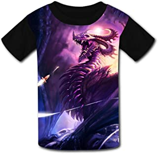 b91c11334 Fuxejin Creative Kids T Shirt,Purple Bad Dragon Painting Print Short Sleeves  Tee for Girl