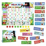Reward Chart for Kids, Magnetic Responsibility Chore Chart for Multiple Kids Behavior Star Chart for Toddlers Homeschool Supplies with 90 Tasks 300 Stars