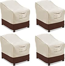 Vailge Patio Chair Covers, Lounge Deep Seat Cover, Heavy Duty and Waterproof Outdoor Lawn Patio Furniture Covers (4 Pack - Medium, Beige & Brown)