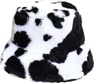 Elibeauty Ko tryck hink hatt för kvinnor, söt mönster fuskpälsmössa för vintern, fluffiga hattar för flickor att hålla värmen