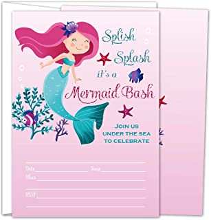 Gooji Mermaid Party Invites – 5x7 Large 25pcs Double Sided Mermaid Invitations with 25 Envelopes – Beautiful Invite Cards for Baby Shower, Baby Registry and Girls Birthday Party Supplies …