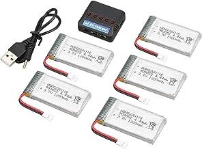 Fytoo Accessoire 5PCS 3.7V 1200mAh Batterie au Lithium 1PCS 5en1 Chargeur pour SYMA X5SW X5SC X5S X5SC-1 M18 H5P RC Drone Pi/èce de Rechange Quadcopter T/él/écommand/é