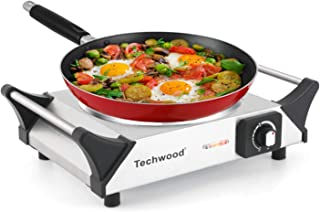 Techwood Hot Plate Single Burner Electric Ceramic Infrared Portable Electric Burner, 1200W Adjustable Temperature, Stay-Cool Handles, Non-Slip Rubber Feet, Stainless Steel Easy To Clean