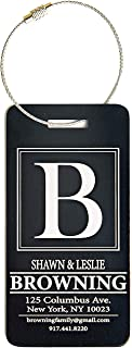 Personalized Luggage Tags Gifts with Engraved Design (Browning Design) - Elegant and Durable Travel Suitcase Name Tags, Gift for Travelers Men and Women (2 Luggage Tags, Black)