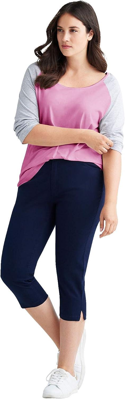 ellos Women's Plus Size Colorblock 3/4 Sleeve Tee T-Shirt