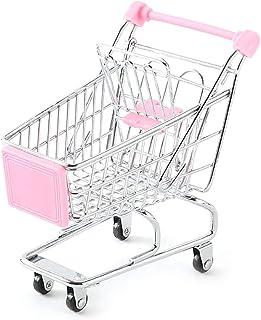 Wudi 1pc Mini Carro de Compras diseño Creativo supermercado carros de Mano pequeño supermercado de Almacenamiento Juguete supermercado Cesta del almacenaje de la Carretilla de Juguete (Rosa)