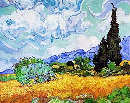 l'Affiche ILLUSTREE Poster V. Van Gogh Campo di Grano con cipressi Stampa Artistica in Offset su Carta Speciale gr.300 - Varie Misure (50x70)
