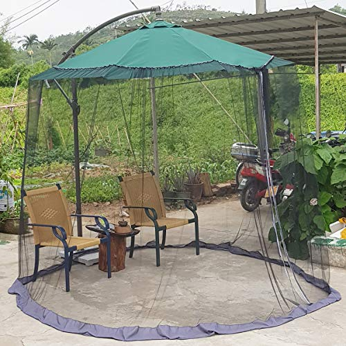 【Upgrade】7.5-11ft Patio Umbrella Mosquito Netting, with Double Zipper Door, Polyester Mesh Net Screen Universal for Almost Outdoor Market Table Umbrellas & Cantilever Offset Hanging Umbrella w/Tilt