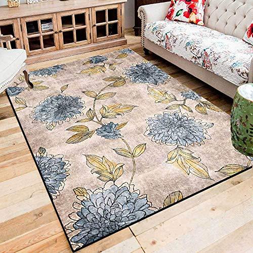 Teppich Moderner Wohnzimmer Große Area Rugs Retro abstrakte Blaue gelbe Chrysantheme Schlafzimmer Zimmer Teppich Sofa Tisch Kind Krabbeln Matte 100x160CM (3ft28''x5ft3)