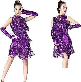 da22364e5e2 Vestidos de baile latino con borla para damas Vestido de baile latino con  mangas de las
