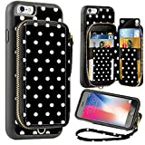 ZVE Wallet Case for Apple iPhone 6 and iPhone 6s, 4.7 inch, Zipper Wallet Case with Credit Card Holder Slot Handbag Purse Wrist Strap Print Case for Apple iPhone 6 /6s 4.7 - Polka Dots