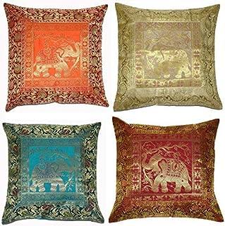 ANJANIYA Set of 4 17×17 inch (43×43 cm) Elephant Banarsi Silk Indian Ethnic..