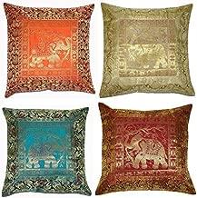 ANJANIYA Set of 4 17x17 inch (43x43 cm) Elephant Banarsi Silk Indian Ethnic Bohemian Decorative Cushion Cover Handcrafted Patchwork Sari Throw Pillow Boho Decor Cushion Covers for Gift (Silk Elephant)