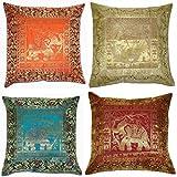 ANJANIYA Juego de 4 fundas de cojín de seda de elefante banarsi étnico indio bohemio de 43 x 43 cm, hechas a mano, diseño de elefante, estilo bohemio, para regalo (elefante de seda)