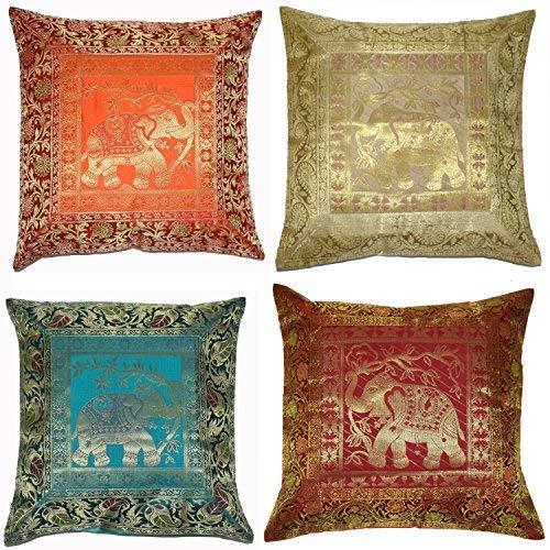 ANJANIYA 4Banarsi Silk Cuscino Indian Style Elephant Seta Copertura del Cuscino Decorativo per Divano Federa per Cuscino con Cerniera 40,6x 40,6cm 16x16 Inches Silk Elephant