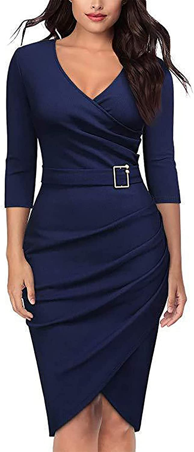 Shaloly High Waist Solid Color Dress for Women, Seven-Point Sleeve V-Neck Slim Pleated Dress