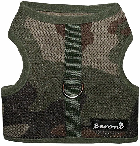 Beroni Katzengeschirr Cat Walking Jacket Brustgeschirr Weste ausbruchsicher No Escape grün Camouflage Tarnfarben (Small)
