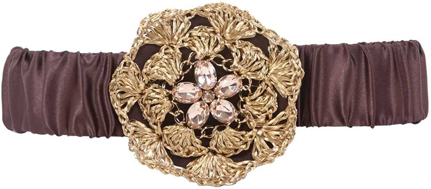 2  Wide Elastic High Waist Rhinestone Fashion Stretch Belt
