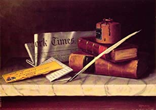AED50-2000 Hand Painted Art Paintings by College Teachers - Still Life with Letter to Thomas B Clarke Irish painter William Harnett Oil Painting Wall Decor - Large Size 15