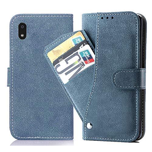 Asuwish LG K20 Hülle,Leder Lederhüllen klappbar Schutzhülle Wallet Hülle Mit Kartenfach Ständer Stand Dünn Stoßfest HardWallet Hülle Panzerglas + Handyhülle für Apple LG K20 Blau