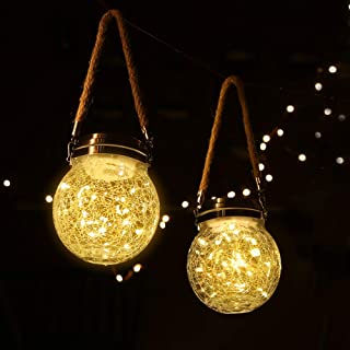 ROSHWEY Hanging Solar Lights 2 Pack 30 LED Crackled Glass Ball Warm White Waterproof Outdoor Solar Powered Lanterns with H...