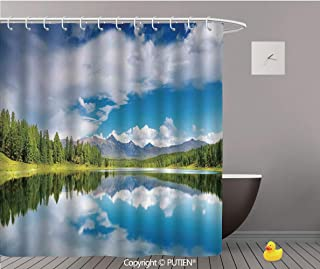 PUTIEN Funky Shower Curtain [ Lakehouse Decor,Lake and Reflection Scene at The Skirts of Altai Mountain and Fresh Spring Forest, Polyester Bathroom Accessories Home Decoration,72
